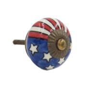 Shabby Restore US Flag Ceramic 3.8cm Knob Pull