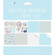 Dovecraft Christmas Collection - Card Craft 20cm x 20cm Decoupage Paper Pad - Blue