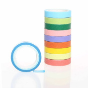 DIY Rainbow Tape, Pengxiaomei 10 Rolls Decoration Tape Candy Colour Sticky Paper Arts Crafts Tape