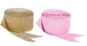 Pink and Dark Metallic Gold Crepe Paper Streamers (2 Rolls Each Colour) MADE IN USA!
