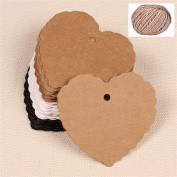 Lwestine 400PCS Heart Kraft Paper Gift Tags(White, Brown, Black) Wedding Party Favours, With 60m Natural Jute