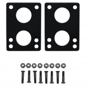 "Longboard Riser Pads and Hardware 1/4"" (6mm) Black Risers and 1 1/4"" Bolts"