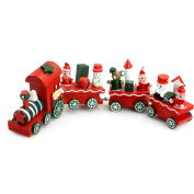 EA-STONE Cute Charming 4 Piece Wooden Christmas Santa Tree Train Ornament Decor Gift New