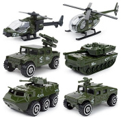 MinYn 6 Pieces Mini Die-cast Metal Military Vehicle Toys Set for Kids - Helicopter, Tank, Armoured Car