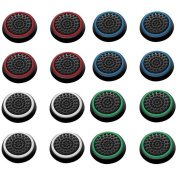Insten 16 pcs Green/Red/Blue/White Controller Analogue Thumbstick Cap for Xbox 360/Xbox One Sony PlayStation 2/3/4