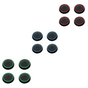 Insten 12 pcs Green & Red & Blue Controller Analogue Thumbstick Cap for Microsoft Xbox 360/Xbox One Sony PlayStation 2/3/4