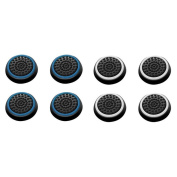 Insten 8 pcs Blue & White Controller Analogue Thumbstick Cap for Microsoft Xbox 360/Xbox One Sony PlayStation 2/3/4