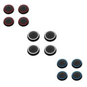 Insten 12 pcs White & Red & Blue Controller Analogue Thumbstick Cap for Microsoft Xbox 360/Xbox One Sony PlayStation 2/3/4