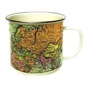 Green Cream Vintage Maps Enamel Mug Camping Cup Antique Design Steel 500ml