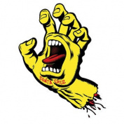 Santa Cruz Screaming Hand Skateboard Sticker - Yellow 15cm