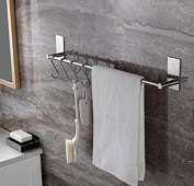 TOGU 70cm Self Adhesive Single Towel Bar with 10 S Hooks, Heavy Duty SUS 304 Stainless Steel, Stick on Bathroom Lavatory with Square Base Hanging Towel, Brushed Stainless Steel Finish