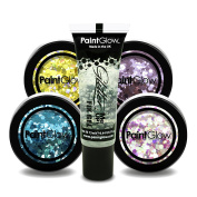 PaintGlow, Set of Chunky Glitter with Cosmetic Fixing Glue Included, 5PACK