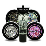 PaintGlow, Chunky Cosmetic Glitter Flakes, Includes Fixing Glue 13ml, 5PACK