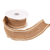 Burlap Ribbon - Jute Ribbon, Rustic Burlap Ribbon, Burlap Spool with Cotton Edge for Interior Decoration, Wedding Decoration, DIY Crafts, Brown with White Stitching - 5 Yard Roll