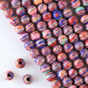 Cherry Blossom Beads Large Hole Synthetic Rainbow 8mm Smooth Round with a 2.5mm Drilled Hole - 8 Inch Strand Approximately 26 Beads Per Strand