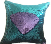 TRLYC Green and Light Purple 41cm by 41cm Two Colour Turned Sequin Pillow Cover for Birthday Party