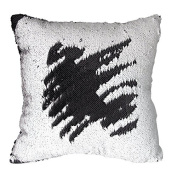 TRLYC Black and White 41cm by 41cm Sequin Pillow Cover Sparkly Cushion Cover for Home Decoration