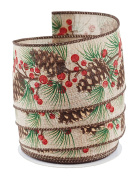 Woodland Pinecones with Berries Linen Burlap Wired Ribbon #100cm - 6.4cm x 10 yards