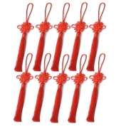 """10pcs Red Chinese Knot Tassel by """"The Fortune Tassels"""". Simple Eternal Fortune Tassels Chinese knot activates good fortune to keep turning and they are good for activating romance, love and money"""