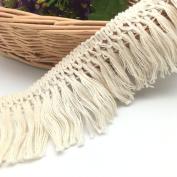 FQTANJU 5 Yards X 6cm Wide Cotton Tassel Fringe In Beige.
