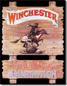 Winchester Firearms Ammunition Cowboy on Horse Rider Retro Vintage Tin Sign Multi-Coloured