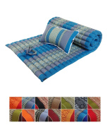 Traditional Thai Kapok Roll-Up Meditation Mattress with Matching Support Pillow for Yoga Massage or Relaxation