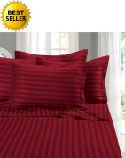 Elegant Comfort® Wrinkle & Fade Resistant 1500 Thread Count - Damask STRIPES Egyptian Quality Luxurious Silky Soft 4pc Sheet Set, Up To 41cm Deep Pocket, King, Burgundy