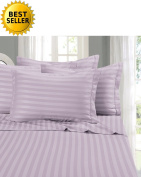 Elegant Comfort® Wrinkle & Fade Resistant 1500 Thread Count - Damask STRIPES Egyptian Quality Luxurious Silky Soft 4pc Sheet Set, Up To 41cm Deep Pocket, Queen, Lilac