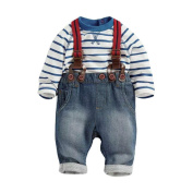 Kids Clothes, Nighter Toddler Baby Boys Long Sleeve Striped T-Shirts + Jean Bib Pants Outfits (1-4T)