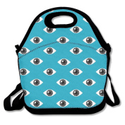 LaiER Lunch Bag Eyes Blue Pattern Durable Insulated Reusable Tote Bag Picnic Lunchbox Food Container For Kids,Adult School Work Office