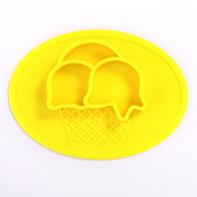 Cute Ice Cream Waterproof Silicone Baby Feeding Placemat,3 Compartments Food Plate,Portable Non Slip Mat for Kids