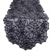 OurWarm Halloween Lace Spider Web Table Runner for Halloween Parties, Décor, Dinners, 50cm by 200cm , Black