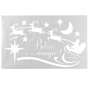Wall Sticker Removable Merry Christmas Deer Wall Window Door Sticker Decal Home Decor Gift,White colour