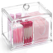 Transparent Acrylic Cotton Swabs Ball Q-tips Cosmetic Makeup Organiser Box - Clear Acrylic 4 stoarge Compartments