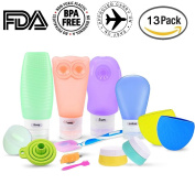 RioRand Silicone Travel Bottle Leak Proof Toiletry Containers Set BPA Free TSA Approved FDA Certified 13 PCS with Clear Travel Bag for Cosmetics Cream Shampoo Lotion Conditioner