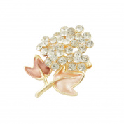 Cluster Rhinestone Brown Apricot Leaf Safety Pin Brooch