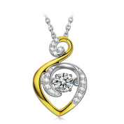 Dancing Heart Guardian of Love 925 Sterling Silver Necklace for Women