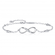 Billie Bijoux Womens 925 sterling Silver Infinity Endless Love Symbol Charm Adjustable Anklet Bracelet