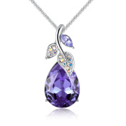 """""""You Are Precious to Me"""" Teardrop Pendant Necklace with Crystal from for Women, Fashion Jewellery Gifts for Women, Red or Purple, 46cm"""