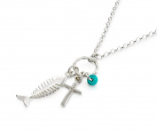 Holy Land Cross & Fish Pendant with Turquoise Bead Accent 925 Sterling Silver Necklace, 18 + 10cm Extender