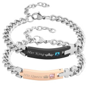 JOVIVI His Beauty Her Beast Stainless Steel His and Hers Curb Couple Bracelet Matching Curb Wrist Band in Gift Box