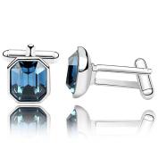 URBAN SHe° Rhdium Plated Marine Blue Square Diamond Crystal Button Men Cufflinks CufflinK Father Day Gift