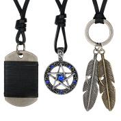 Aroncent Mens Leather Necklace Vintage Angel Feather Dog Tag Star Pendant 3 Pcs