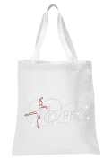 White Ballet Dance Girl Red Crystal Tote Bags Dance Favour Ballet Gymnast party gift bag