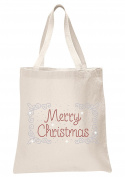 Crystal Natural Merry Christmas Border Tote Bags X'mas Favour Christmas party gift bags
