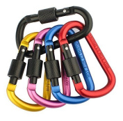 Zendy Aluminium Clip Lock D-ring Locking Carabiner Keychain Spring Clip Lock Hook