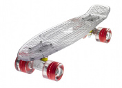 Ridge Skateboards Blaze Mini Cruiser Skateboard - Transparent Deck/red, 60cm
