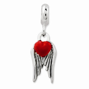 925 Sterling Silver Antiqued Heart with Wings Charm Enhancer - 19MM