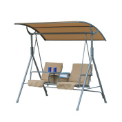 Outsunny 2 Person Covered Patio Swing w/ Pivot Table & Storage Console - Beige