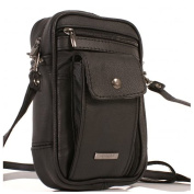 Ladies/Mens Small Black Leather Wrist Bag Travel Organiser Pouch Camera Man Bag with wrist strap and a shoulder strap